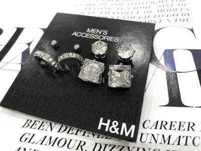 [ AD lib 代購 ] 出清 H&M 銀色 顯眼 4對 水鑽 方鑽 圓鑽 單珠 造型 耳環 男女皆可 台北市