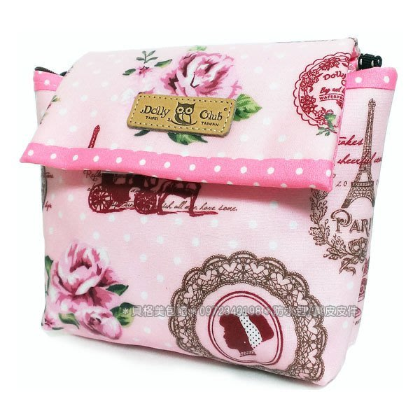貝格美包館 相機包 粉底白點玫瑰鐵塔 DollyClub 防水包 斜背包