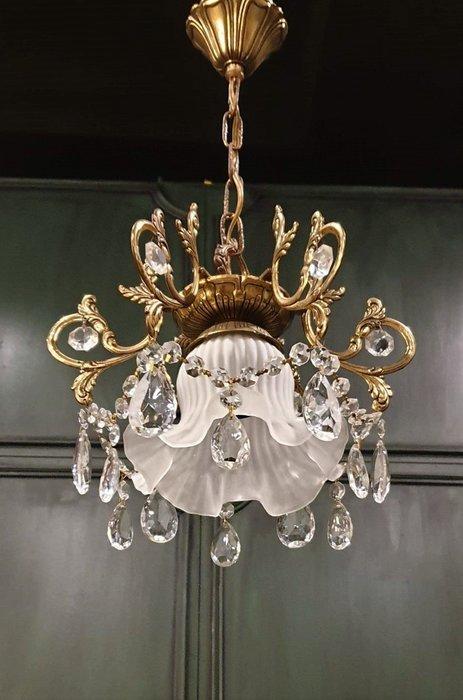 【卡卡頌  歐洲古董】🌷法國老件 ~小公主 水晶 銅雕刻  洛可可 古典 吊燈l0354 ✬
