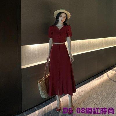 DS_08網紅時尚正韓氣質V領酒紅色晚晚風短袖襯衫+修身顯瘦高腰開叉半身裙長裙女