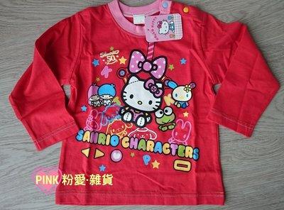 【PINK】HELLO KITTY 50週年 SANRIO CHARACTERS 紅色棉質上衣-90cm