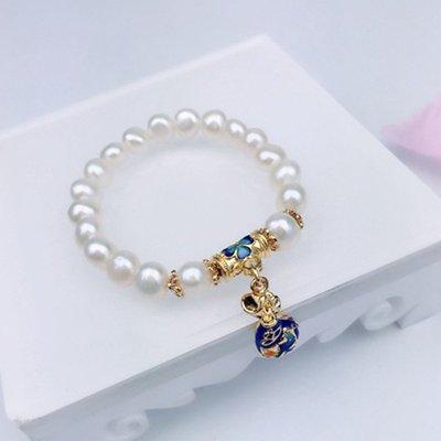 【實用】定制藍配飾展銷禮物跑量米珠批發景泰手鏈兩面光彈力手串自然風