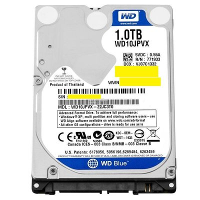 WD10JPVX 藍標 1TB 9.5mm 2.5吋硬碟
