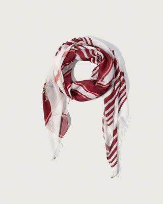 【天普小棧】Abercrombie&Fitch A&F Fringe Scarf夏日薄款流蘇大圍巾長圍巾披肩暗紅條紋
