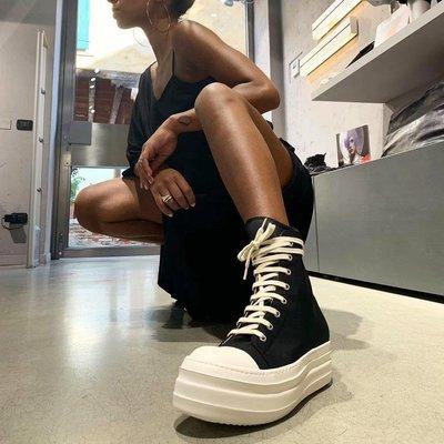 RICK RO DS DRKSHDW新款緞面厚底靴