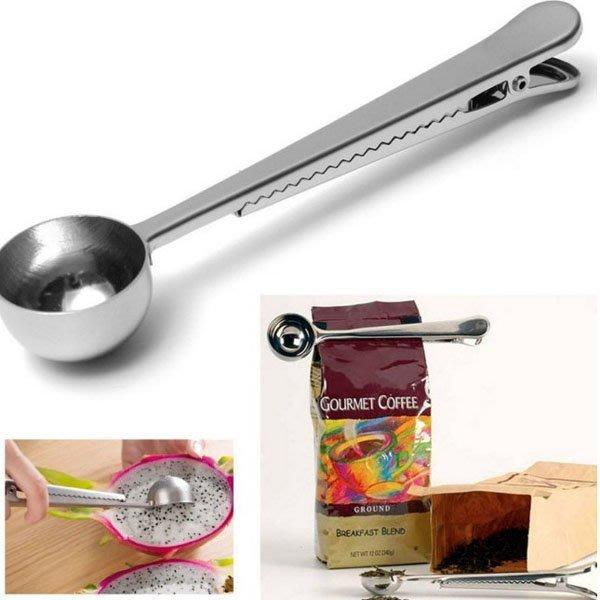 Q媽 帶夾子不銹鋼咖啡量勺 量匙 奶粉勺 調料調味勺子 挖果雪糕勺