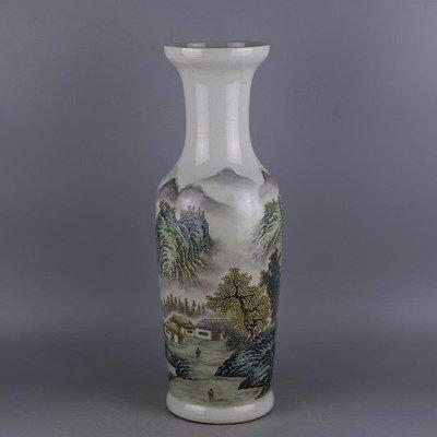 ㊣姥姥的寶藏㊣ 民國粉彩手工瓷山水紋直筒瓶 張志湯精品古瓷 古玩古董收藏擺件