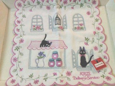 KIKIS 小黑貓 白色底 手帕毛巾帕 日本帶回