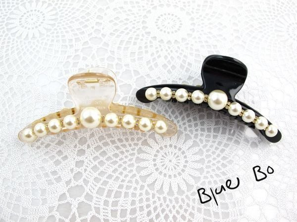 ~*BlueBo*~Korea 韓國飾品 氣質排鑽珍珠 (超大 )鯊魚夾/抓夾/盤髮夾~12cm