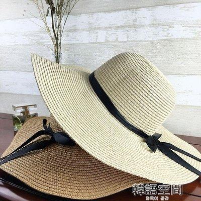 帽子女夏天沙灘帽海邊渡假帽 蝴蝶結飄帶遮陽帽女防曬草帽可折疊