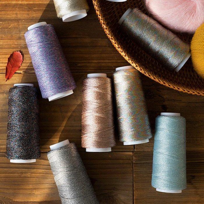 聚吉小屋 #蘇蘇姐家珍寶紗手工diy編織金銀線圍巾披肩衣服材料包配線花式線