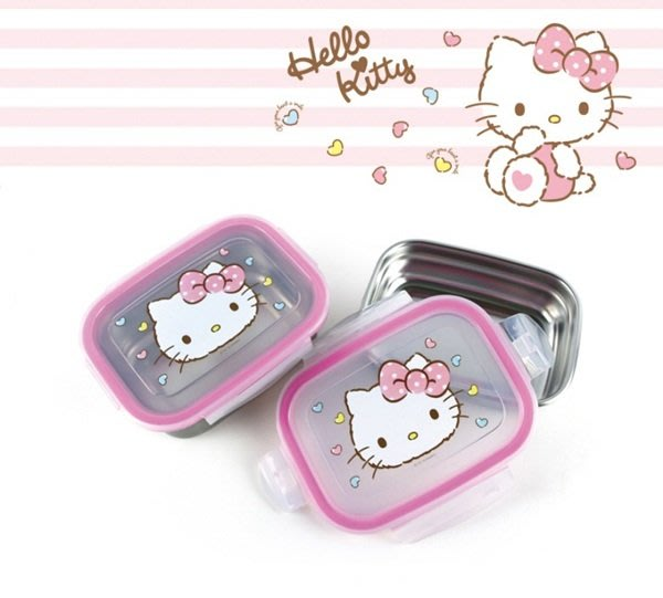 kitty 992033 蛋黃哥 992118 樂扣蓋 304不鏽鋼 1100ml 保鮮盒 便當盒 韓國製  奶爸商城