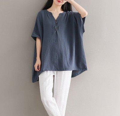 【An Ju Shop】原創設計文藝範 文青寬鬆棉麻蝙蝠袖T恤上衣~CB284008