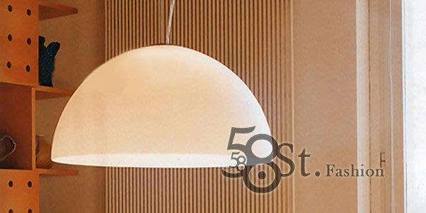 【58街】義大利設計師款式「圓規白砂玻璃吊燈」複刻版。GH-177