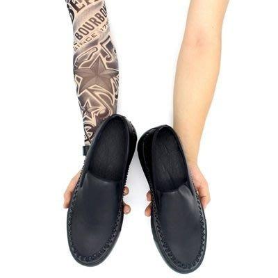皮鞋 真皮休閒鉚釘套腳鞋-美式街頭時尚厚底男鞋2色73kv9[獨家進口][米蘭精品]