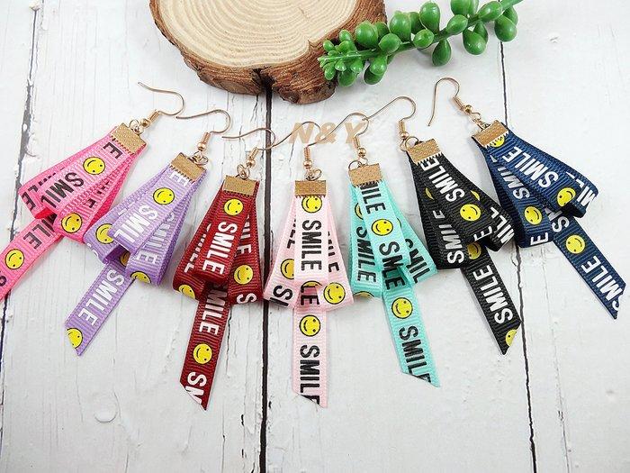 【N&Y】甜美笑臉英文字母絲帶耳環 緞帶耳環EB57【現貨】☆多款顏色可選☆可改耳夾式
