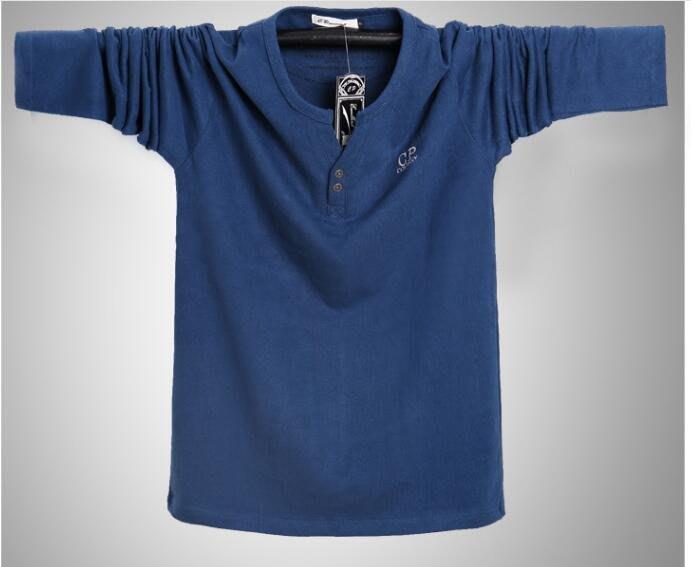 韓系大碼長袖T恤男長袖運動款 純棉雙扣V領T恤 100KG可穿 Y250