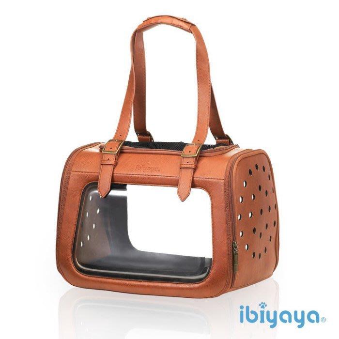 *COCO*依比呀呀-移動櫥窗透明寵物提包(咖啡/皮革款)FC1821-LB小型犬、貓咪、兔子外出肩背包/IBIYAYA