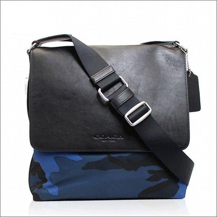 COACH 側背包斜背包藍色 100%正品保證迷彩皮革掀蓋書包 專櫃可送修保養