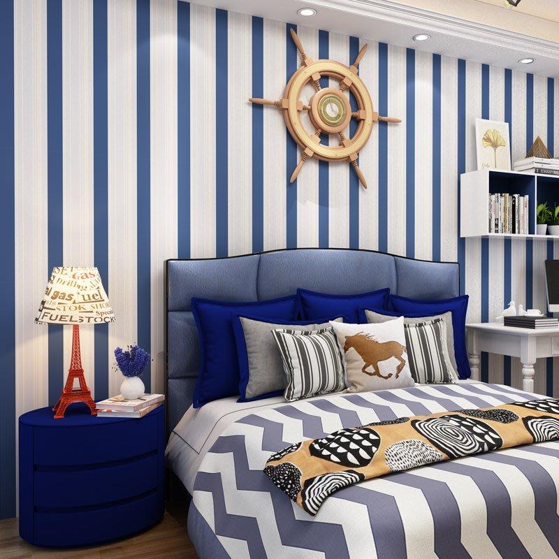 哇塞壁纸藍色地中海條紋兒童房壁紙自粘臥室男孩女孩房間粉色自貼墻紙10米小猪哇塞
