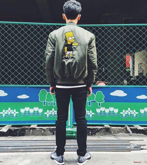 ☆AirRoom☆【現貨】STEREO VINYLS X Simpsons art MA-1 Jacket 軍綠 外套