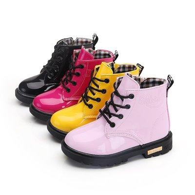 韓系糖果漆皮亮面防水防滑綁帶側拉鏈雨鞋/寶寶靴/童靴/高筒靴/馬丁靴子/雪靴/雨靴~桃粉黃黑四色/男童女童