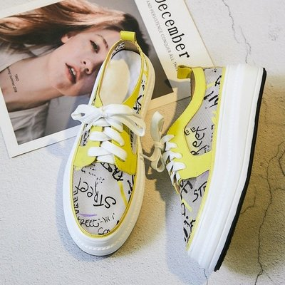 Fashion*歐美風字母厚底老爹鞋 松糕網鞋透氣網紗樂福鞋 系帶鏤空小白鞋/2色 白色*檸檬黃色 34-40碼