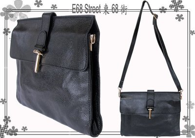 E68_st~P035全新韓國品牌SOO & S.B.S TIMING 黑色牛皮真皮皮革可調式斜側肩背包&側肩包&手拿包