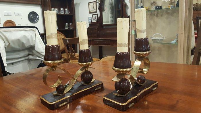 【卡卡頌 OMG歐洲跳蚤市場 / 西洋古董 】比利時 幾何設計 木加銅 燭台 ss0188✬