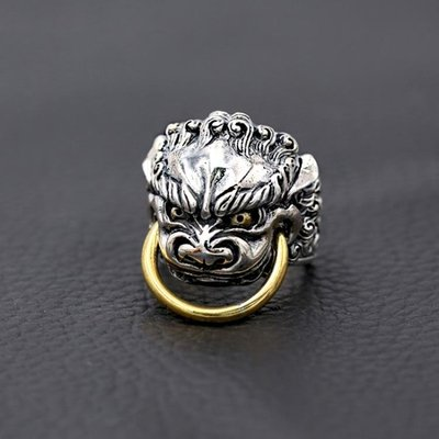 S925純銀時尚飾品 個性男款復古泰銀戒指 招財貔貅圖案開口指環