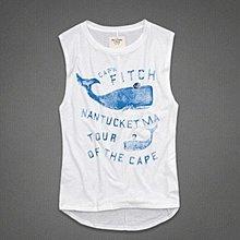 Maple麋鹿小舖 Abercrombie&Fitch * AF 白色無袖鯨魚印花圖案背心* ( 現貨L號 )
