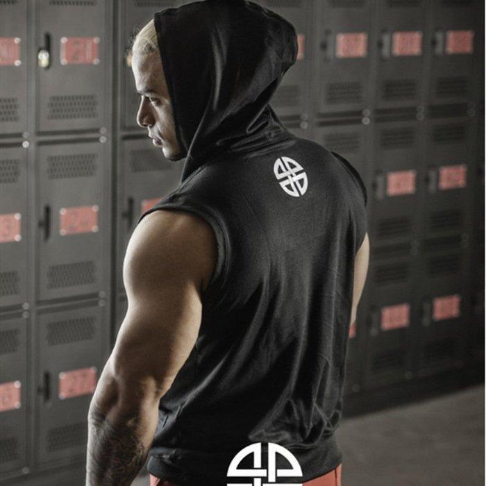 型男 肌肉男 健身背心 男短T 男短褲  健身服肌肉肌肉兄弟男無袖連帽馬甲潮運動上衣跑步帽衫訓練緊身套頭健身背心