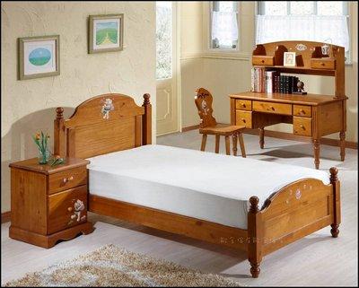 實木手工彩繪小熊單人床架B款 3.5*6.2床 可愛風兒童原木床架可畫玫瑰花另有賣獨立桶床墊乳膠床衣櫥斗櫃【歐舍傢居】