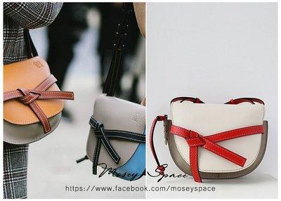 Mosey Space【BAG18004】真牛皮訂製 綁結扭結撞色拼接Gate包 馬鞍包 半月包