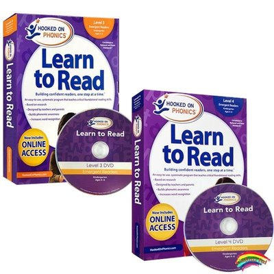 英文原版迷上語音 Hooked on Phonics Learn to Read  Levels 3 and 4 Complete 三四階段合集拼讀學習閱讀啟蒙