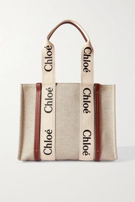 現貨[小珊瑚]全新英國購入正貨 CHLOÉ Woody Medium Tote 中款 帆布 托特包 棕色 駝色 燕麥色 CHLOE