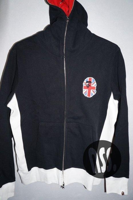 特價「NSS』A BATHING APE BAPE UK HEAD FULL ZIP HOODIE 帽夾 連帽外套 黑L