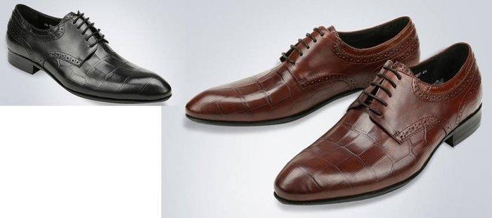 爵式新品男士牛皮商務正裝皮鞋高檔鱷魚紋皮鞋尖頭系帶男鞋潮低幫