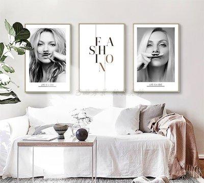 歐美現代簡約風格個性人物頭像藝術裝飾畫字母畫
