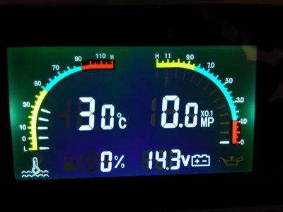引擎油壓表 水溫表 電壓表 燃油量表 4合1 , 數位顯示 三環表 類DEFI HKS 農機 工程機械 引擎監控