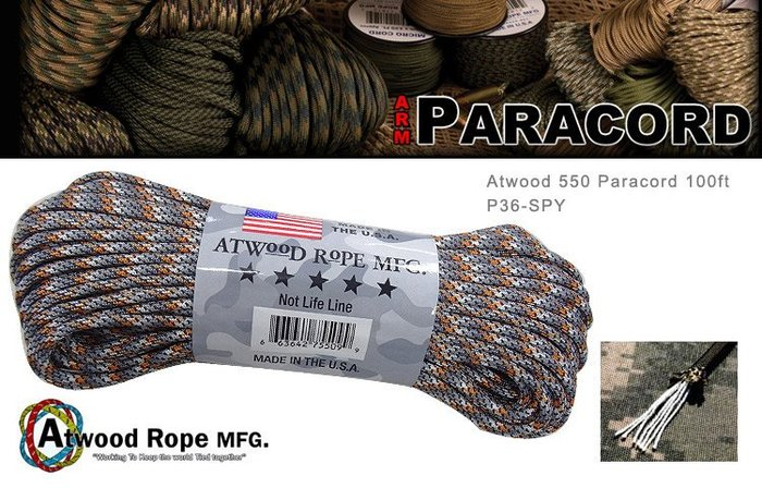【angel 精品館 】ATWOODROPE傘兵繩-100英呎 (鐵灰橘色) (藍黑色) (亮橘綠藍色)
