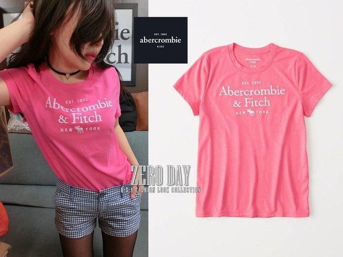 零時差美國時尚網a&f真品abercrombie&fitch girl logo graphic tee麋鹿短袖T-粉紅