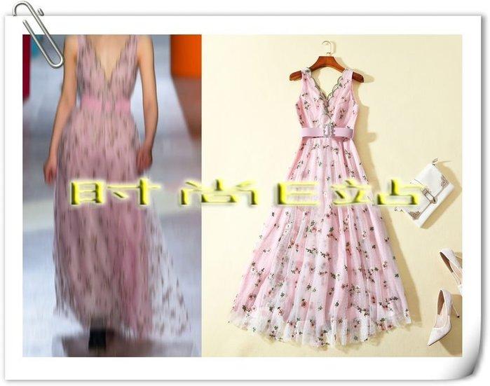 時尚E站【~SSEZ~】AX-,81804301 迪麗熱巴同款刺繡網紗長洋裝 S M L XL