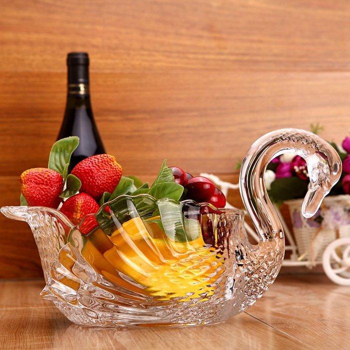 聚吉小屋 #天鵝玻璃果盤果斗水果盤干果盤果籃創意客廳歐式現代擺件裝飾禮品
