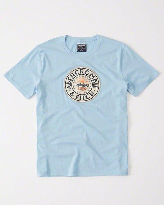 Maple麋鹿小舖 Abercrombie&Fitch *AF 水藍色圖樣字母短T * ( 現貨L號 )