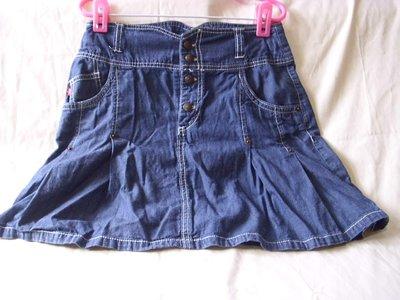 潮流帥衣 100%棉高腰造型潮牌專櫃藍色牛仔短裙 腰圍26吋 生日禮物單品收藏 只有1組