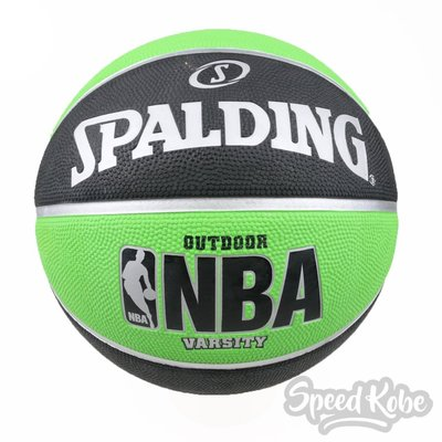 SPALDING 籃球 NBA New Varsity 黑綠 室外 7號球 SPA83276【SP】