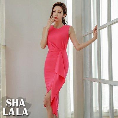 SHA LA LA 莎菈菈 韓版名媛氣質荷葉邊修身時尚包臀無袖連衣裙洋裝(S~XL)2019050706預購款