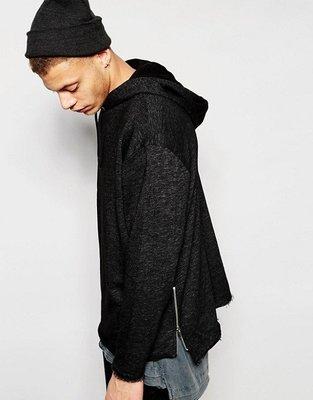 [ASOS-Longline Oversized Textured Hoodie With Zips] Size:XXS