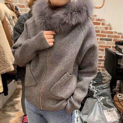 BOSHOW 韓國連線 正韓 大狐狸毛領柔軟針織毛衣外套
